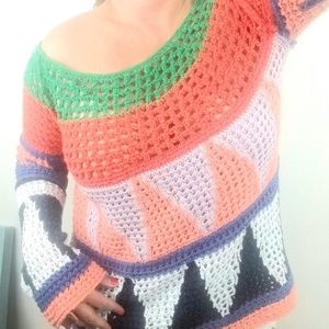 Free People CROCHET sweater S off shoulder open